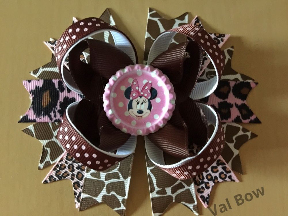 Handmade Animal Print Disney Minnie Mouse Boutique Hair Bows #Handmade