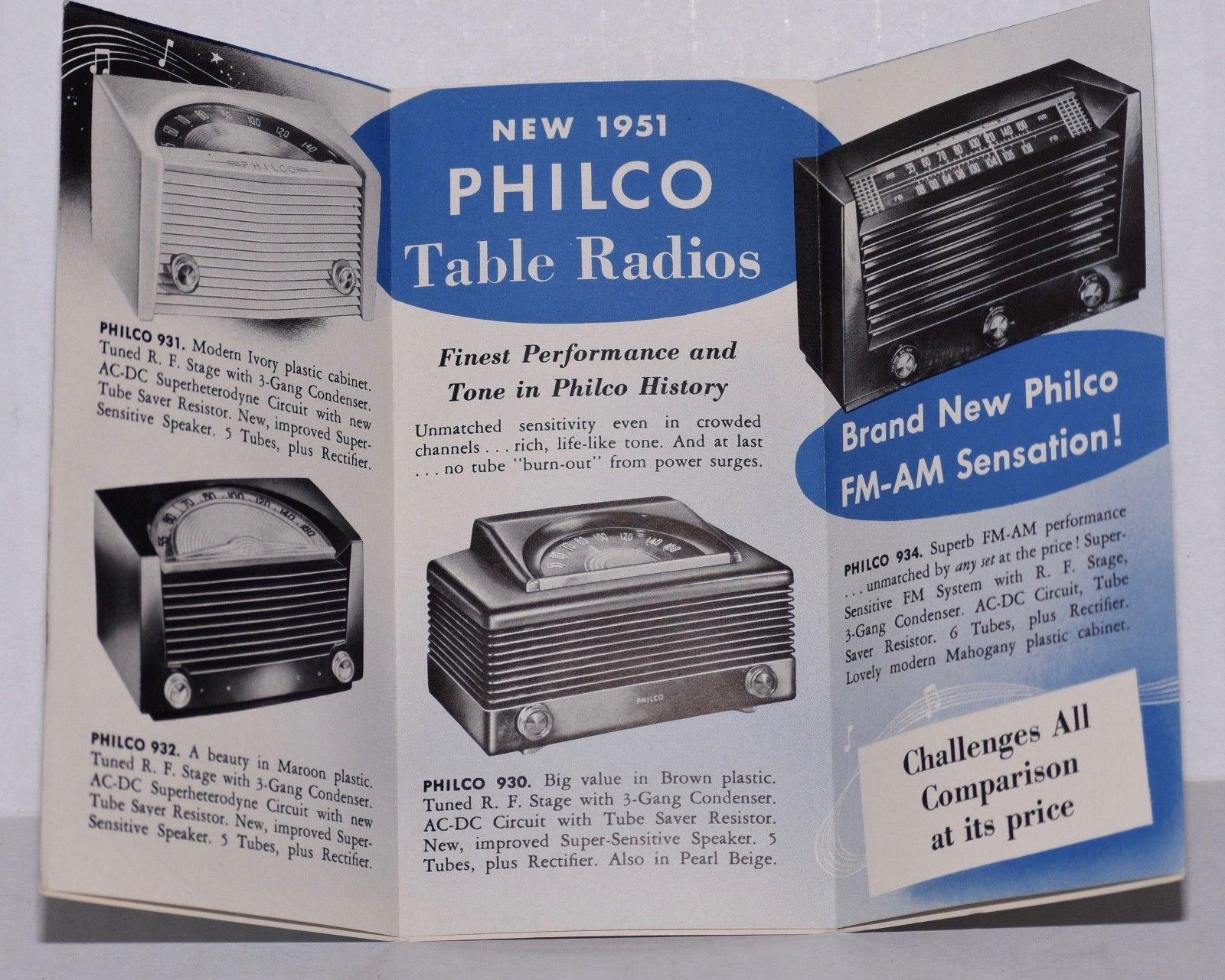 Two PHILCO table radio brochures for the collector or hobby