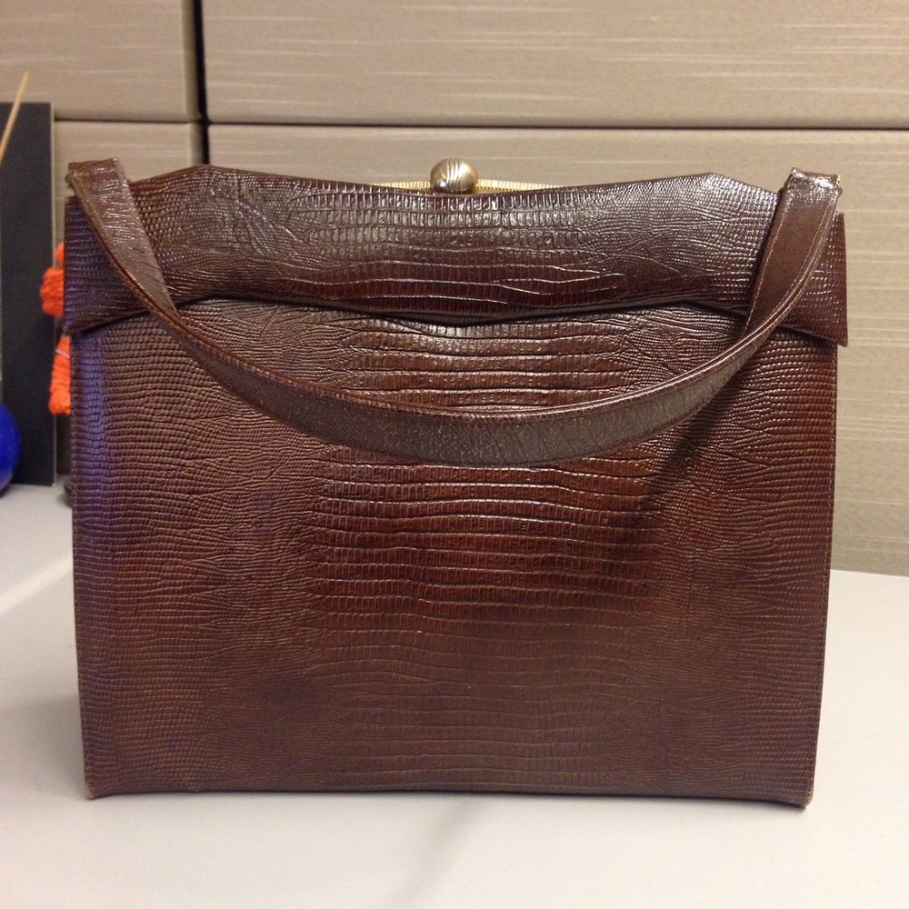 Vintage 1950 S 1960 S Brown Leather Purse Handbag Bag By Caprice Euc Caprice Clutch Brown Leather Purses Leather Purses Purses And Handbags