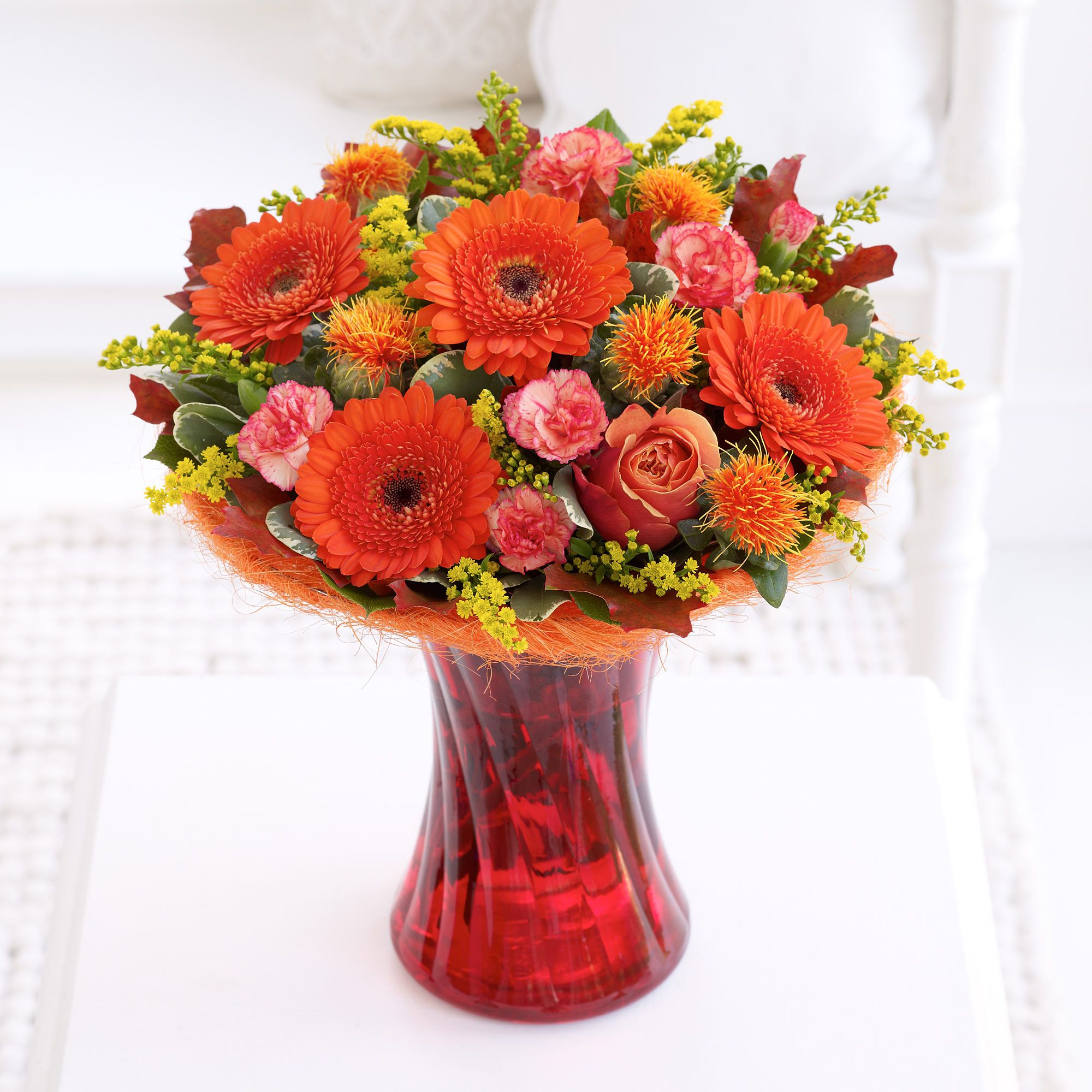 The burnt orange germini in this vase arrangement are perfect for thinking of you theshopstation same day flower delivery fresh flowers online orchids wedding flowers birthday flowers send flowers floral izmirmasajfo