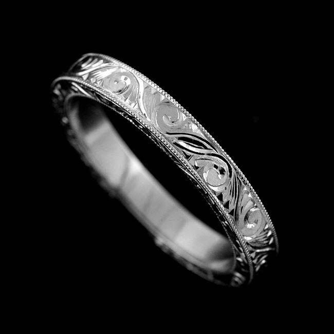 Engraved Wedding Ring Carved Wedding Ring Band Scroll Milgrain