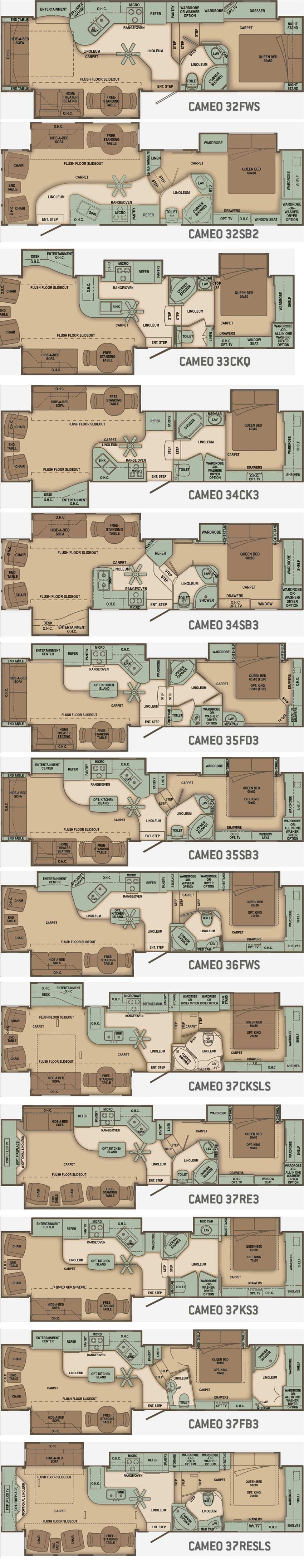 Carriage Cameo Fifth Wheel Floorplans Large Picture Camper World Rv Floor Plans Rv Redo
