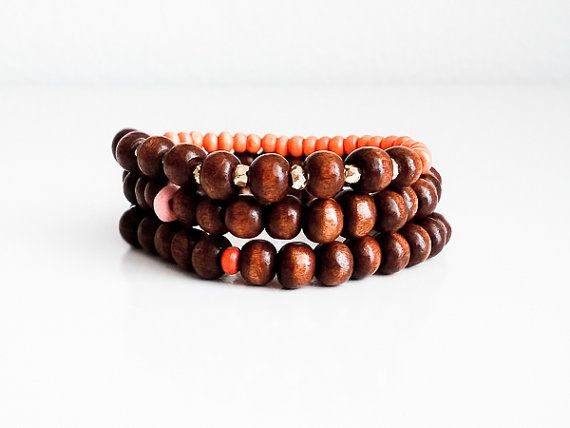 A set of 3 Stretch Handmade MALA Bracelets (9, 27, 27 Mantras Beads) Brown, Orange and Pink Wooden Beads, Gold Coated Pyrite Rondelles