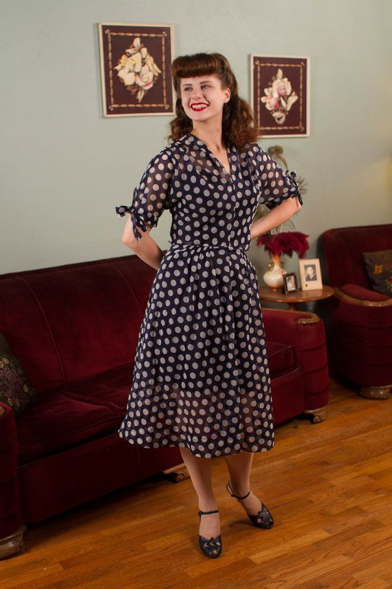 Vintage 1950s Dress - Sweet Sheer Blue and White Polka Dot Day Dress with Bows