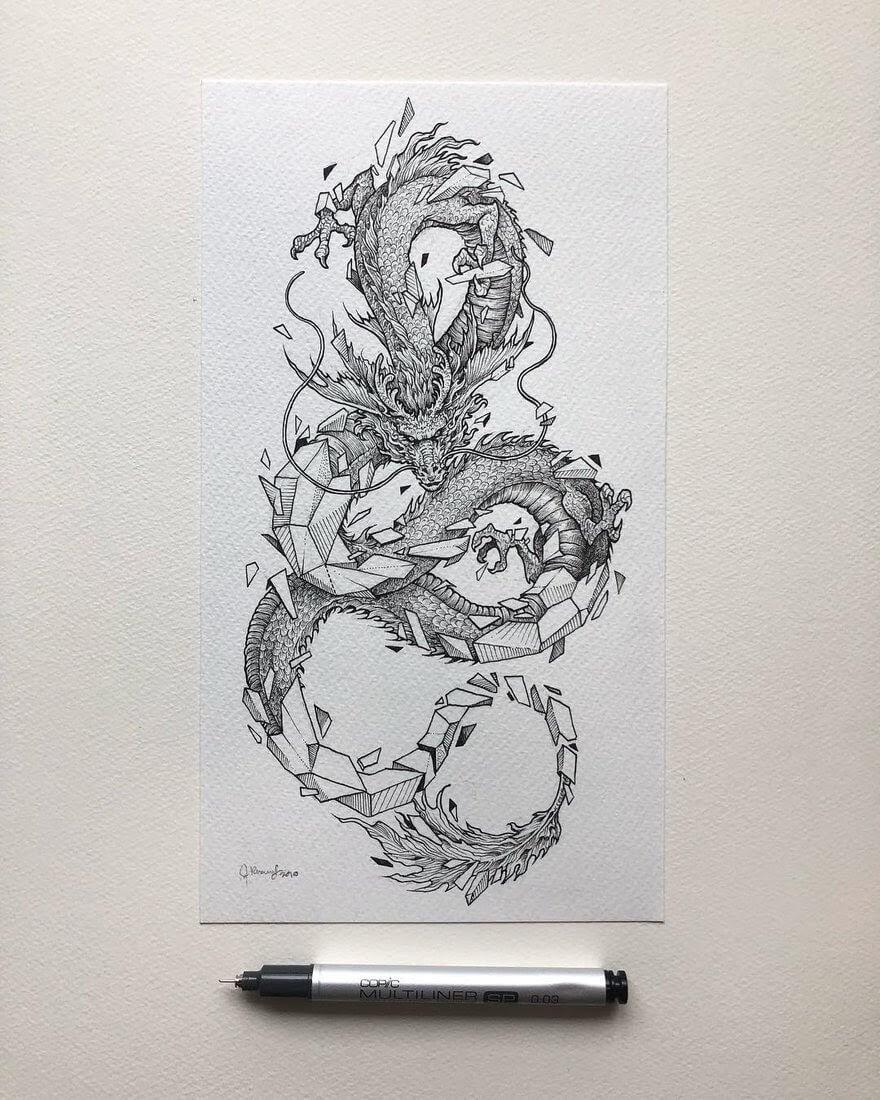 Detailed Fantasy Ink Drawings