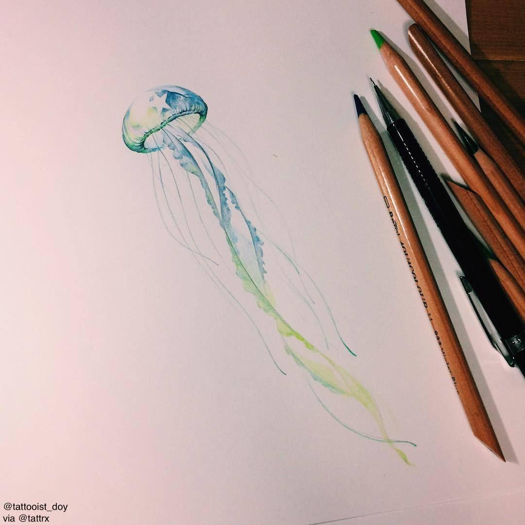 Watercolor Inspiration Inkstinct Jellyfish Tattoo Jellyfish