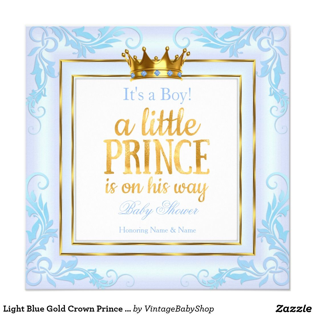 Light Blue Gold Crown Prince Baby Shower Boy Card | Baby shower boys ...