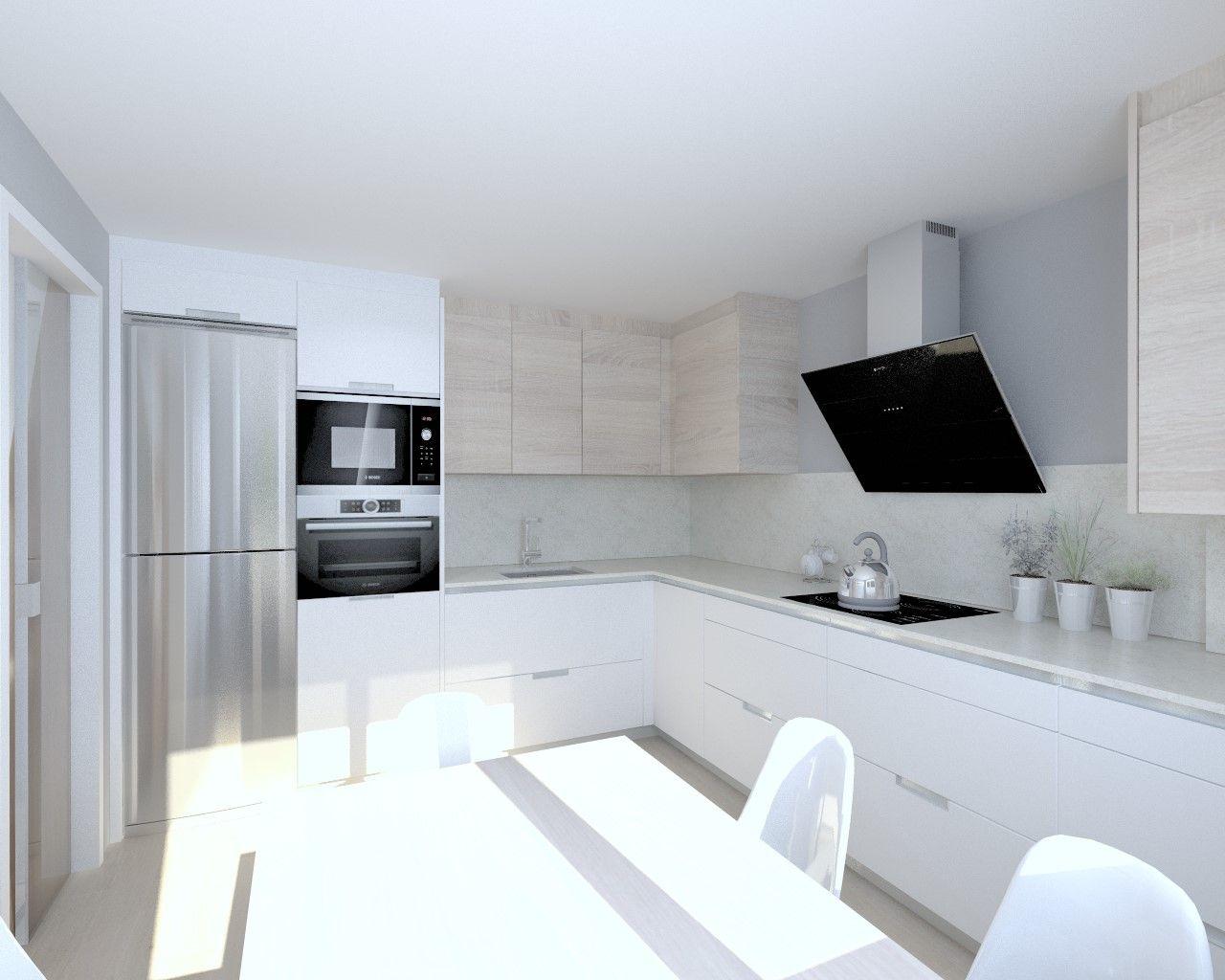 Blanco muebles de cocina con encimeras de color gris oscuro - Cocina Santos Modelo Minos L Blanco Seda Encimera Granito Perla Venata