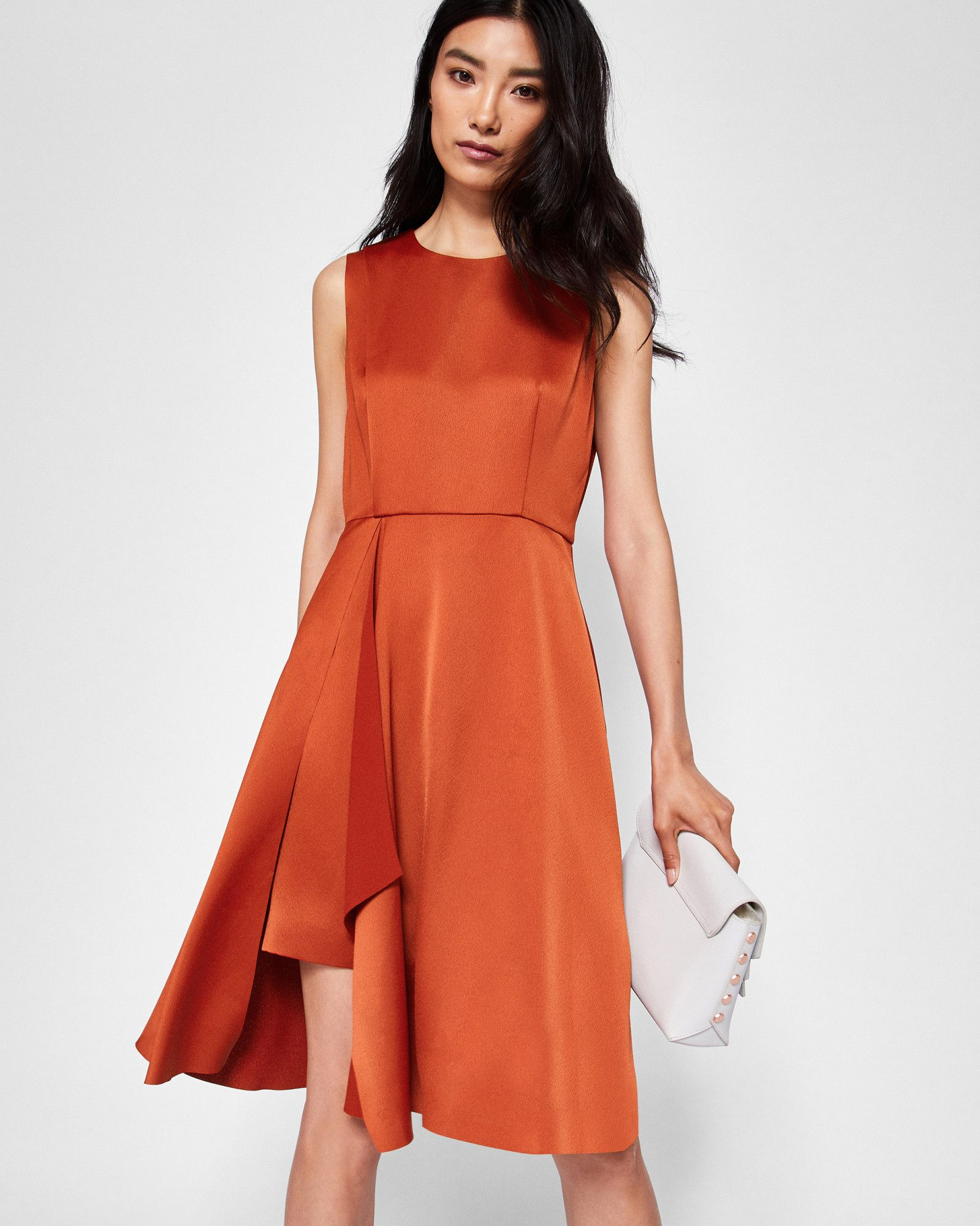 Front fold pleated dress - Brick Red | Dresses | Ted Baker