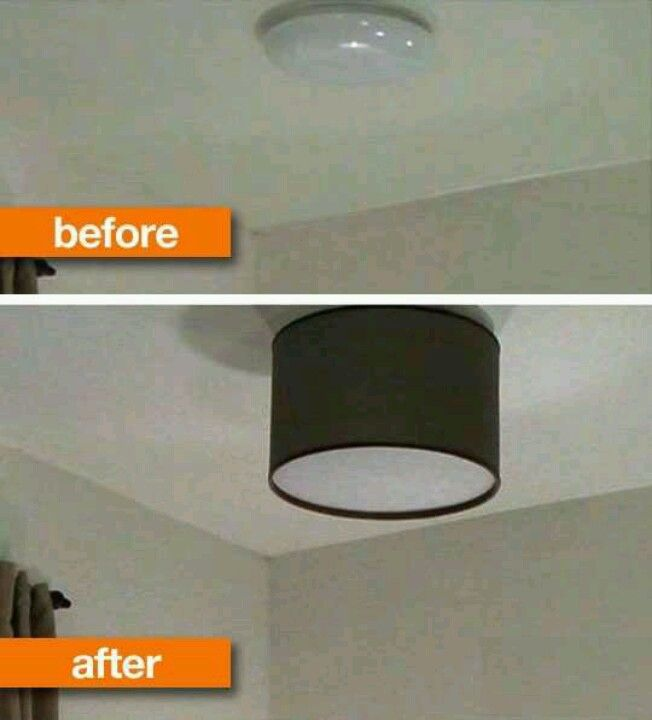 Diy drum shade to transform ugly ceiling light fixture might be neat with patterns cut out of shade