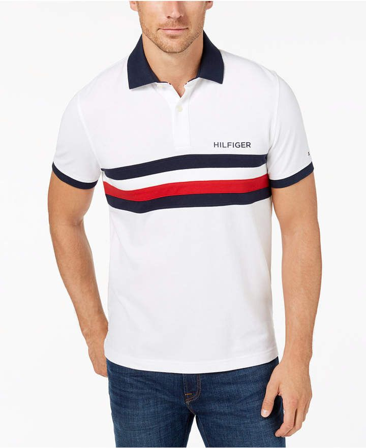 e99ee1fa Tommy Hilfiger Men's Classic Fit Colorblocked Striped Polo, Created for  Macy's