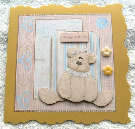 baby girl bear card and decoupage on Craftsuprint designed by Angela Wake - made by Margaret Scott -
