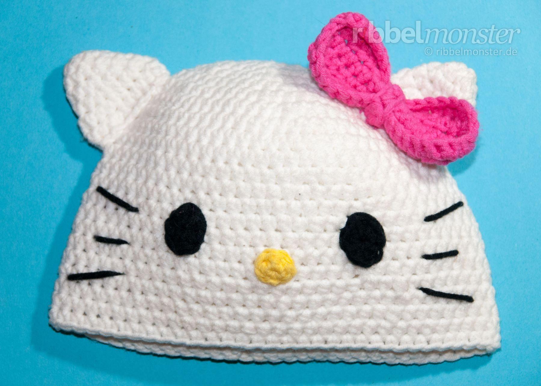 Mütze häkeln - Katze Kitty - Anleitung | Häkeln | Pinterest | Mütze ...