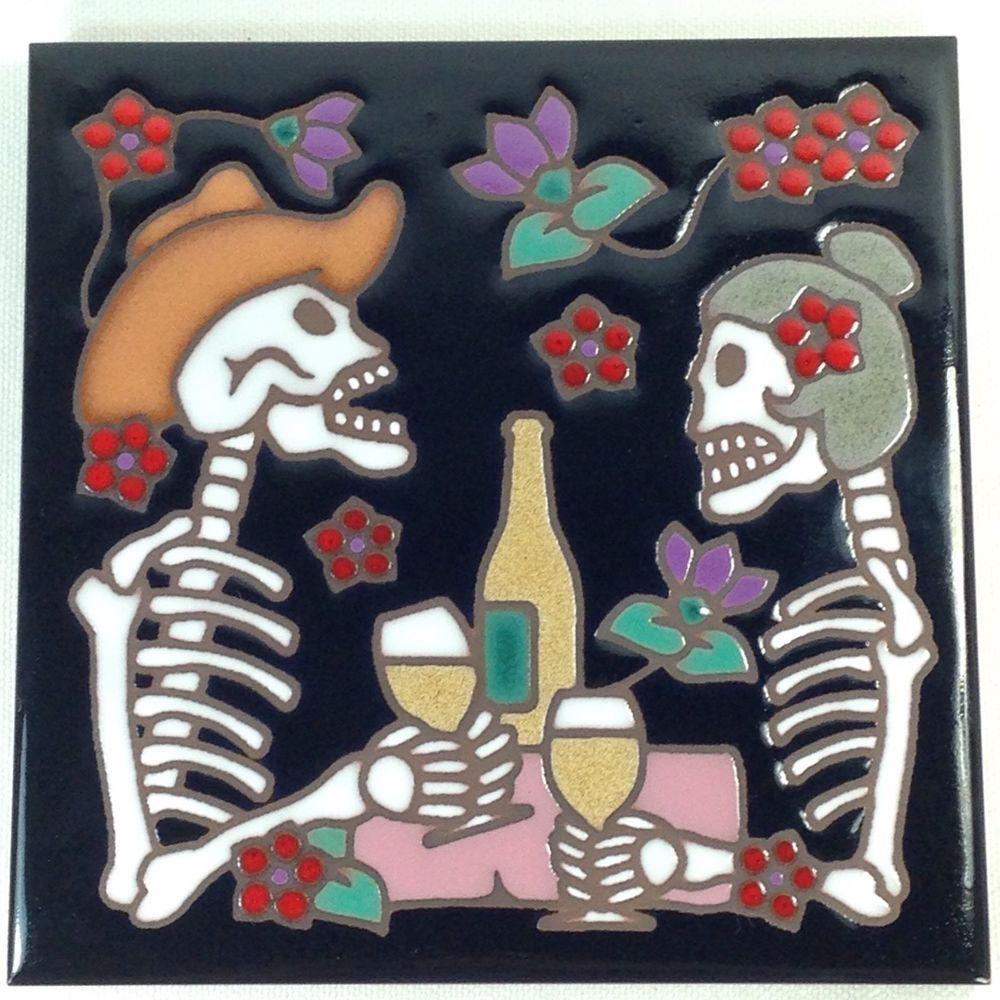 Sugar Skull Skeletons Flowers Tile Trivet Wall Hanging