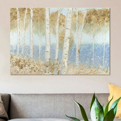 """East Urban Home 'Summer Birches' Painting Print on Canvas Size: 8"""" H x 12"""" W x 0.75"""" D"""