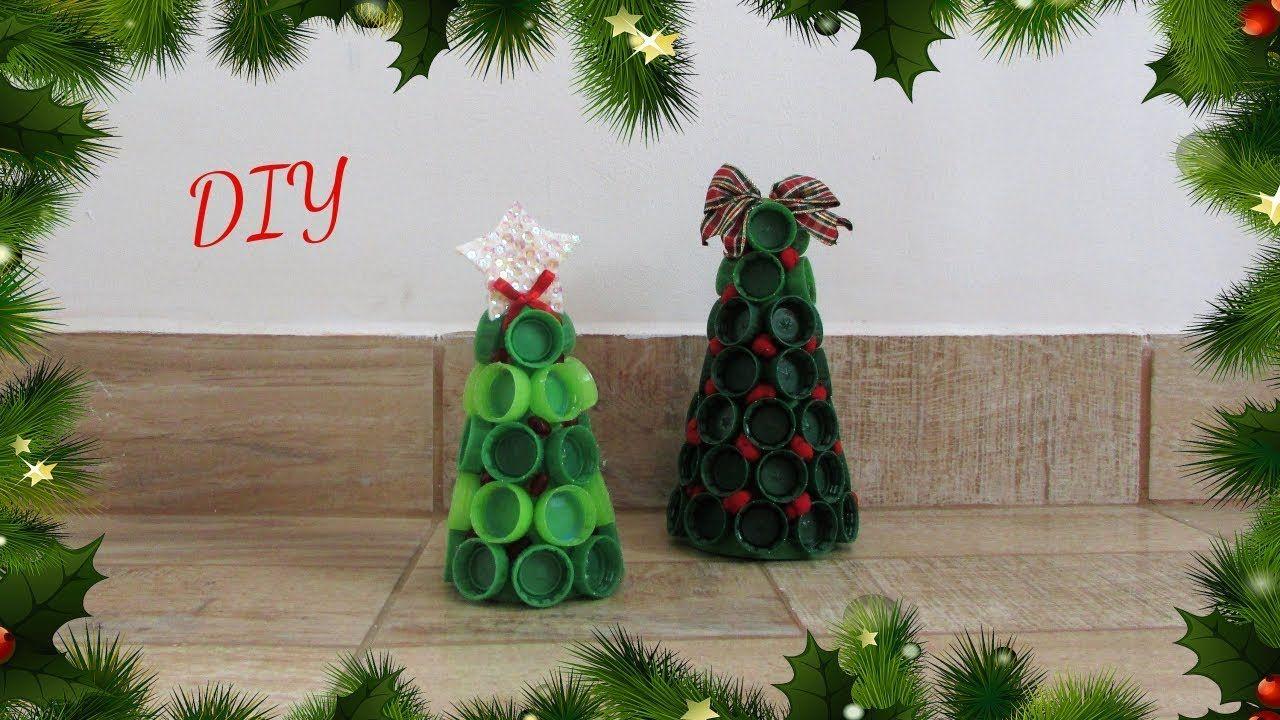 Diy Especial De Natal Mini Arvore De Natal Feita Com Tampinhas