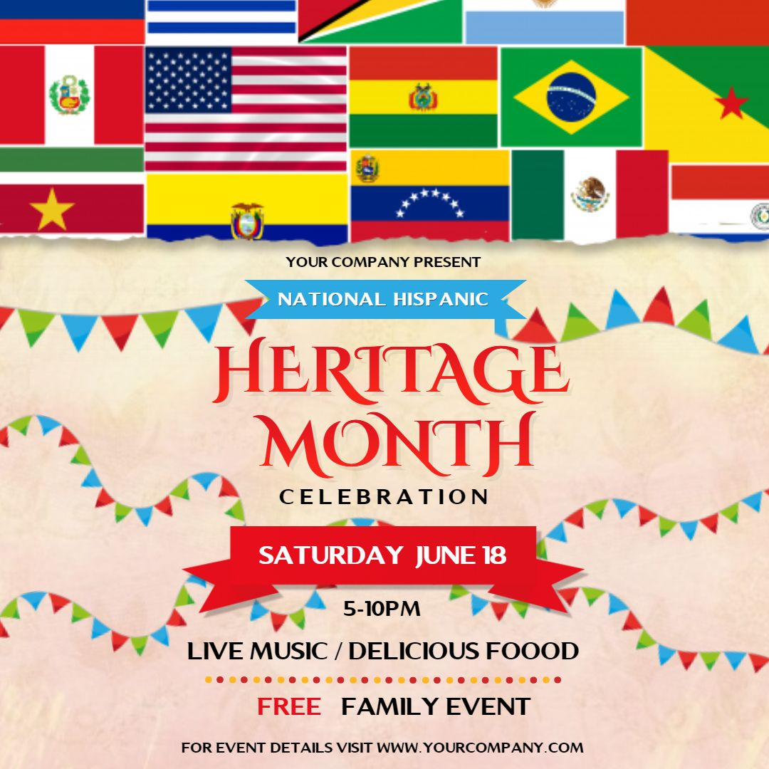 Hispanic Heritage Month Family Event Invitation Square Ad