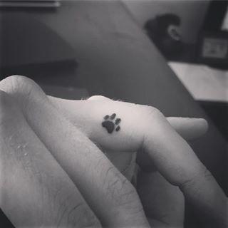 Huge boobs paw print tattoo
