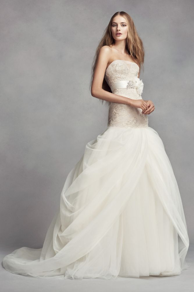 Superb Extra Length Lace White by Vera Wang Split Front Wedding Dress Ivory Champagne
