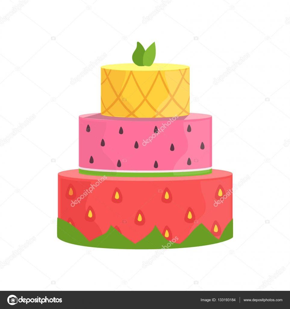 Trois couches gâteau avec fraise, pastèque et ananas décoré Grande Occasion spéciale fête Dessert pour mariage ou anniversaire — Illustration #133193184