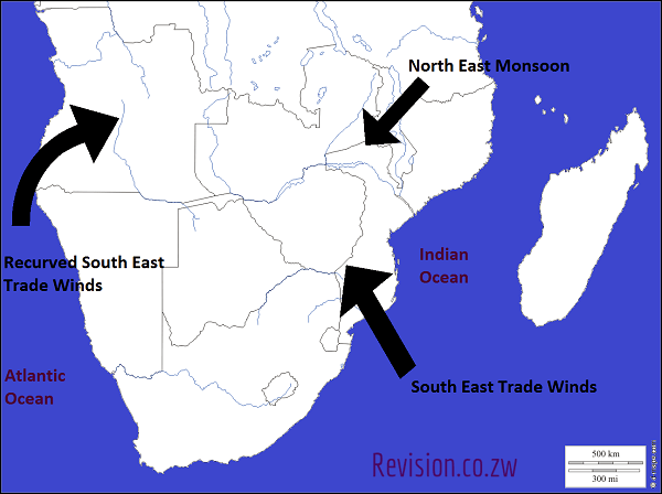 A Map Showing The Major Winds Of Southern Africa Past Exam