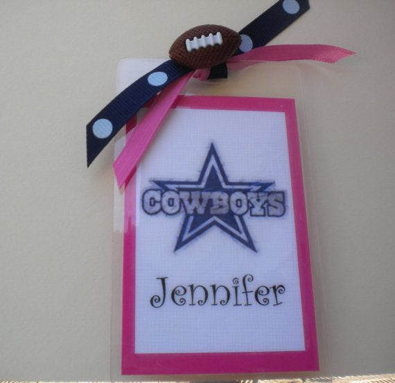 Dallas Cowboys pink girls bag tag. Great for  the football girl or cheer mom.