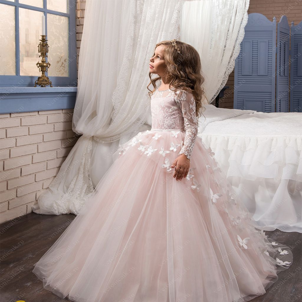 cute pink lace tulle cheap latest flower girl dresseslitter