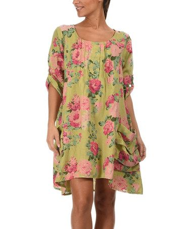 Another great find on #zulily! Anise & Rose Floral Linen Shift Dress #zulilyfinds