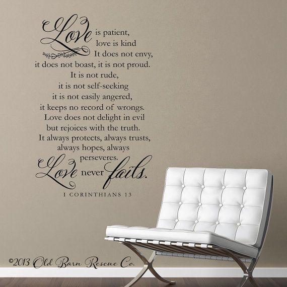 Vinyl Wall Decal Love Is Patient Love Is Kind 1 Corinthians 13 Home Decor Love Is Patient Vinyl Wall Decals Wall Decals