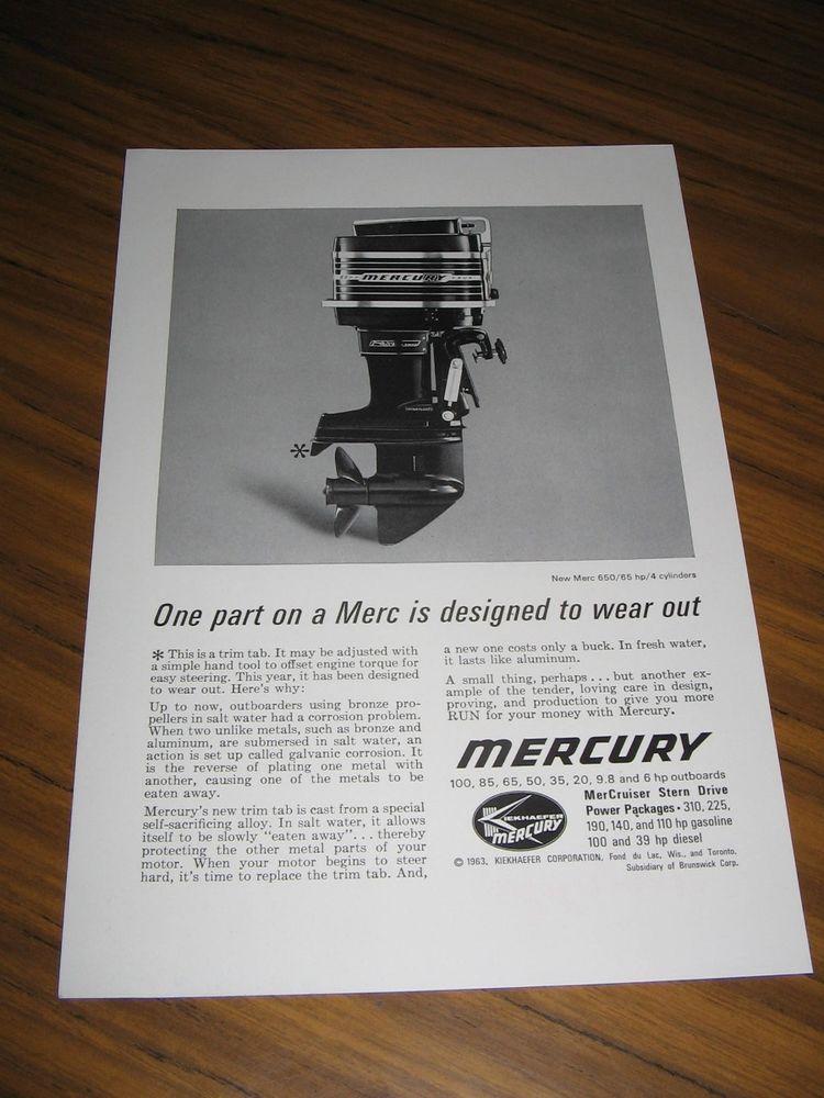 1963 Print Ad Mercury 650 65 Hp 4 Cylinder Outboard Motors Outboard Motors Print Ads Outboard