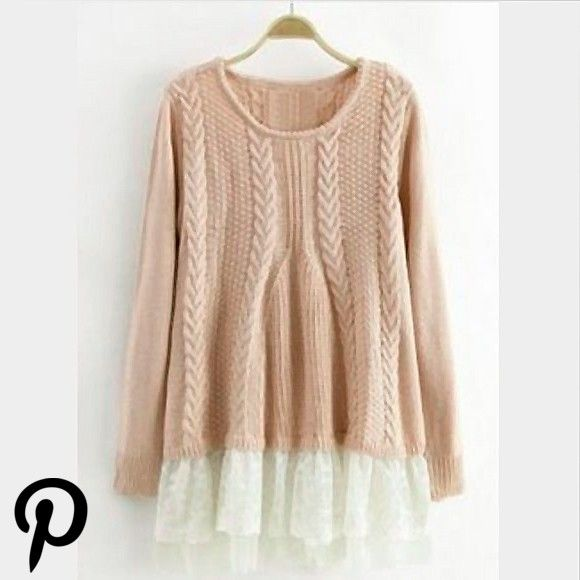 Size S PinkPeachy w cream lace bottom Tops Tees  Long Sleeve in 2019