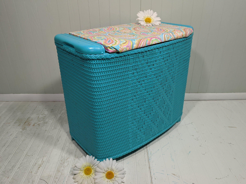 Turquoise Wicker Hamper Bench Wooden Storage Bin Seascape Blue