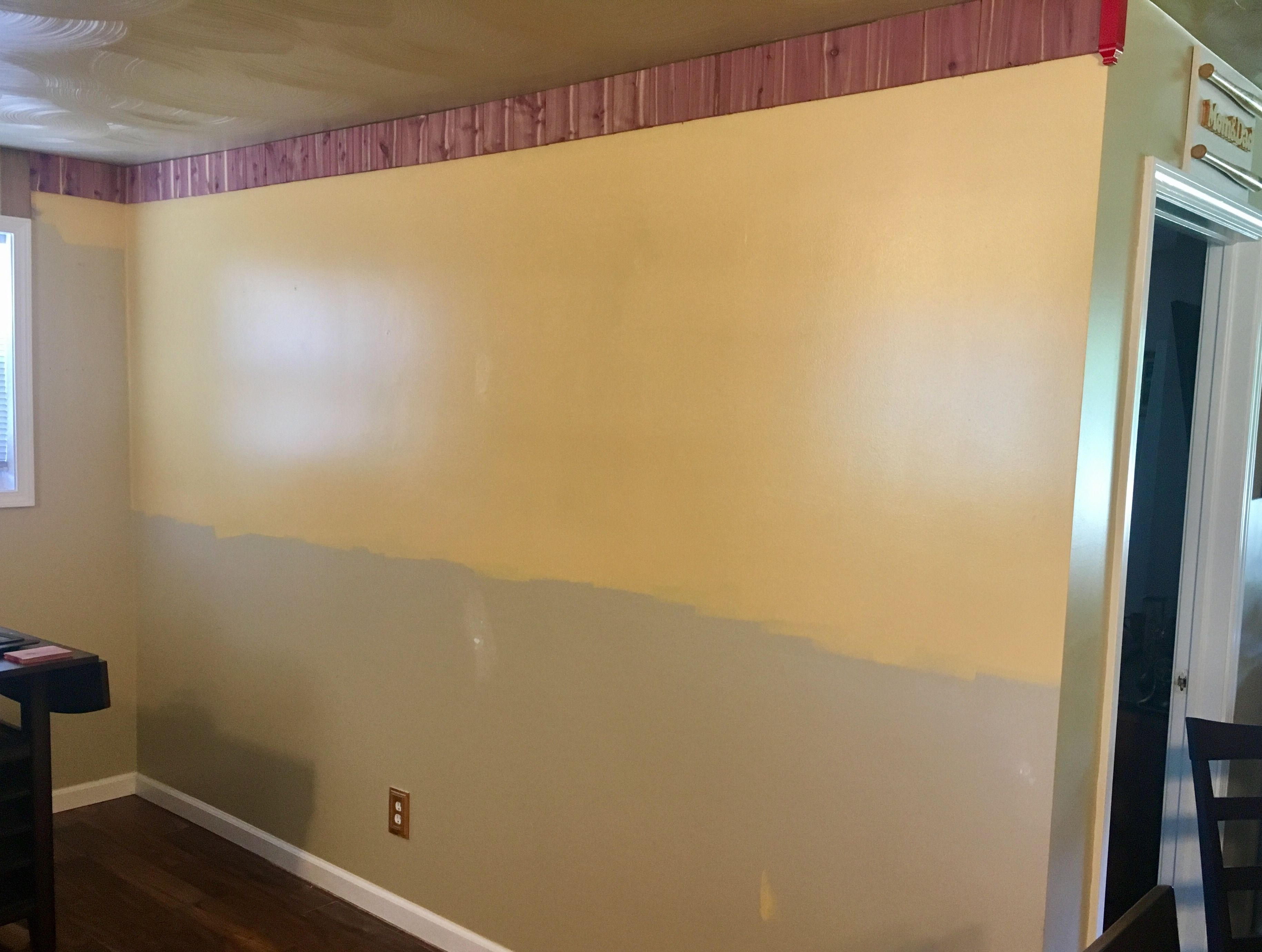 The Top Half Wall Was Painted Until Bottom Line For Chair Rail