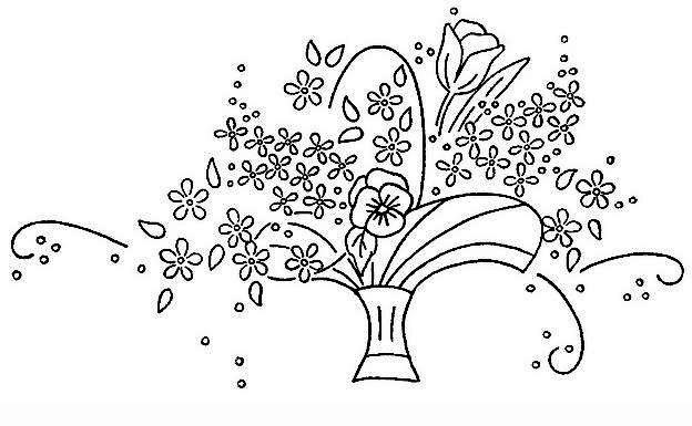 cestas de flores bordado - Pesquisa Google