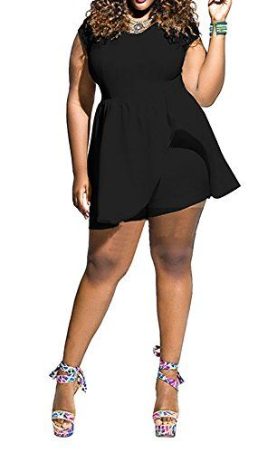 15e7e91fcd Womens Plus Size Cap Sleeve Fit and Flare Dress Jumpsuit Romper Playsuit  Black 2XL