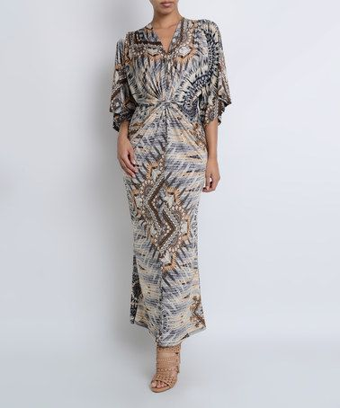 Another great find on #zulily! Gray Geometric Flutter-Sleeve Maxi Dress #zulilyfinds