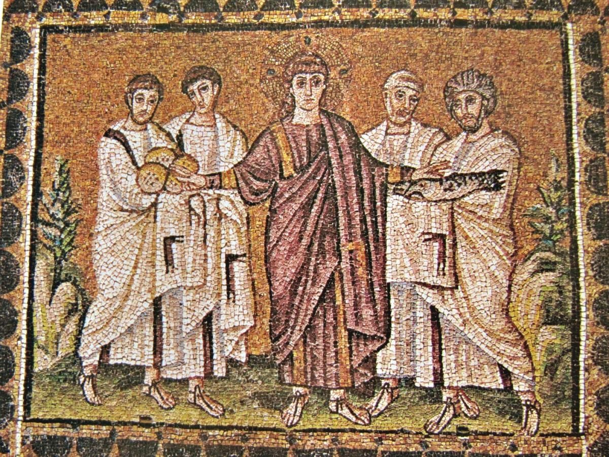 Milagre dos Pães e dos Peixes, 520 d.C - Basílica de Santo Apolinário, Ravena
