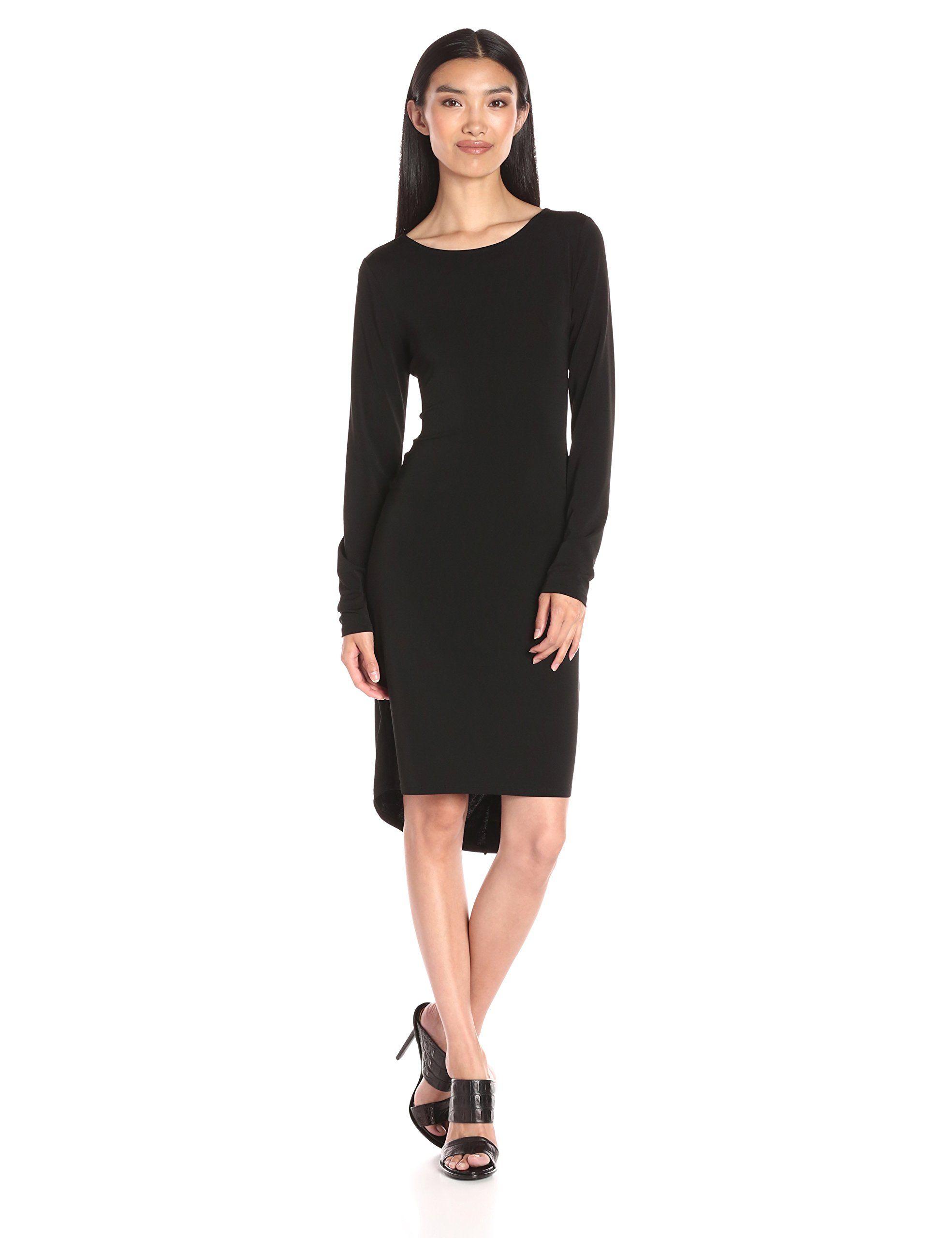 Black t shirt dress knee length - Black Bcbgmax Azria Women S Celia Long Sleeve T Shirt Dress
