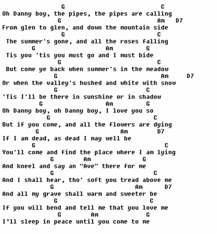Guitar guitar lyrics : Danny boy - very easy :) | guitar Chords | Pinterest | Easy ...