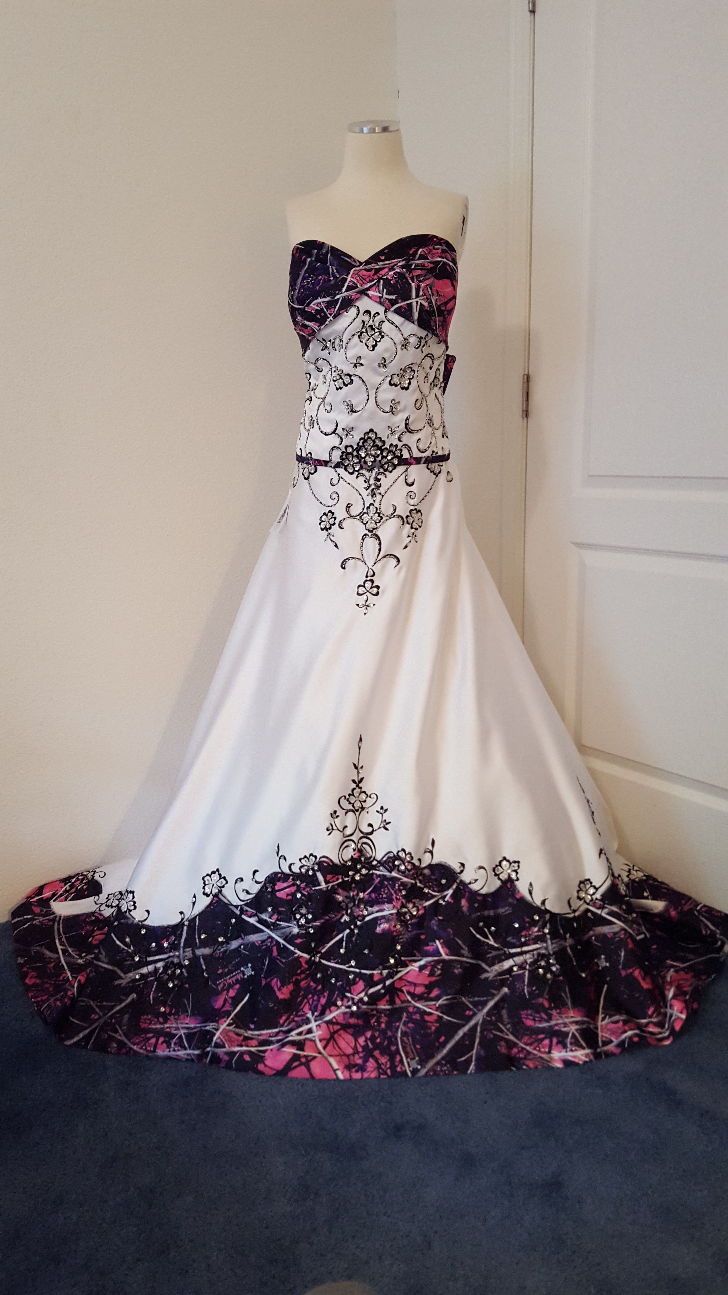 Anita wedding gown with muddy girl camo as the accent ucolor