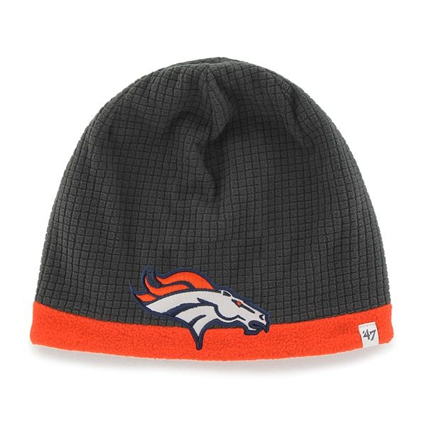 37e6d94c35c0d Denver Broncos Grid Fleece Beanie Charcoal 47 Brand YOUTH Hat ...