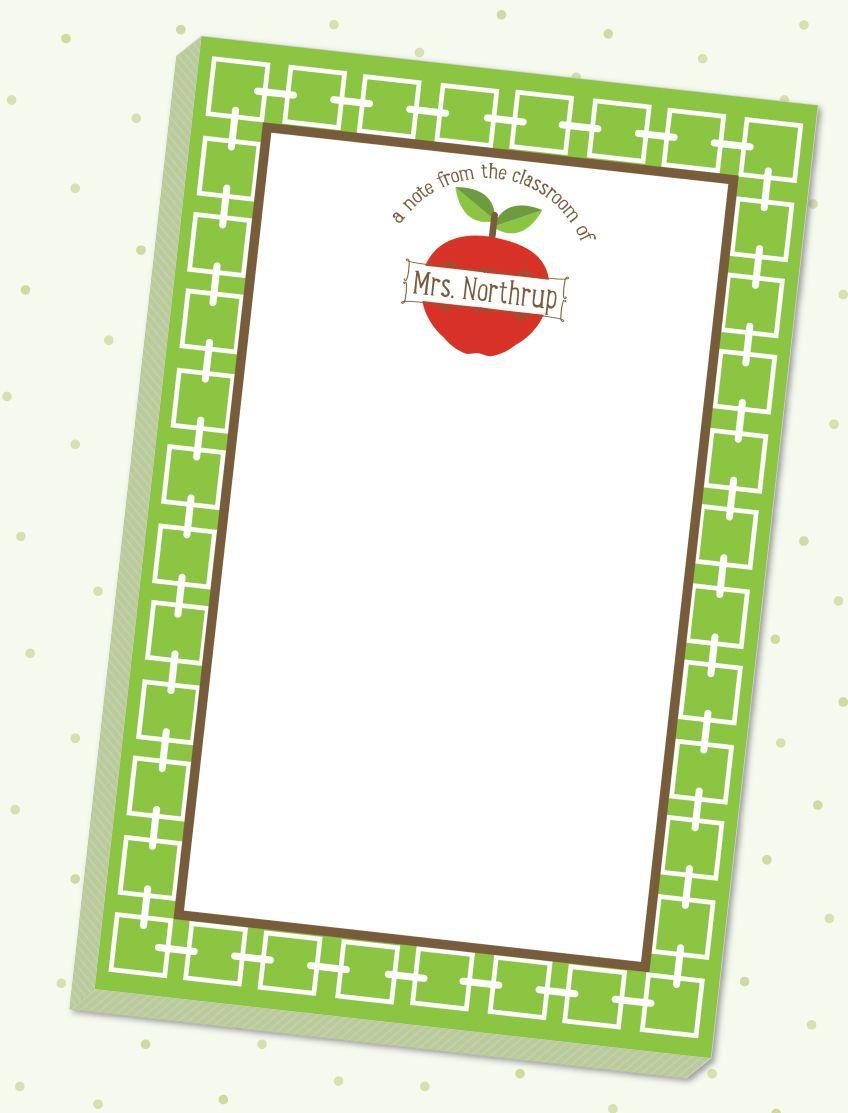 Classroom Apple Notepad Back to school teacher