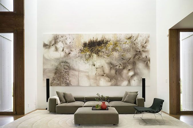 In An Upstate New York House A Double Height Living Room Has Rhpinterest: Big Paintings For Living Room At Home Improvement Advice