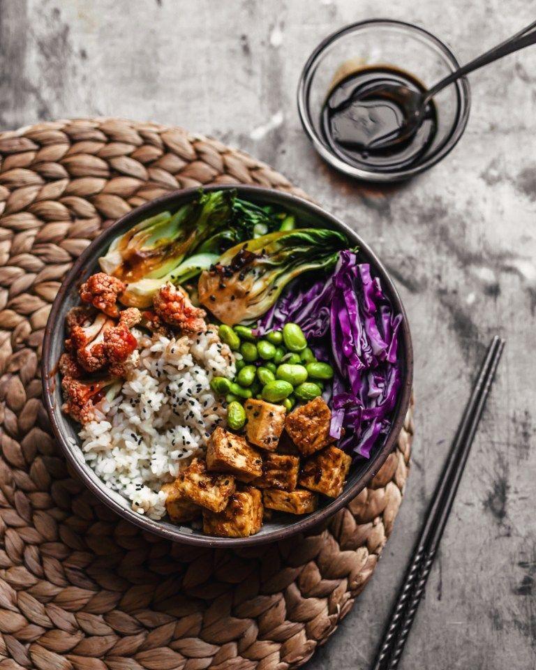 Crispy Teriyaki Tofu Rice Bowl The Plant Based Wok Recipe Rice Bowls Vegetarian Teriyaki Tofu Tofu