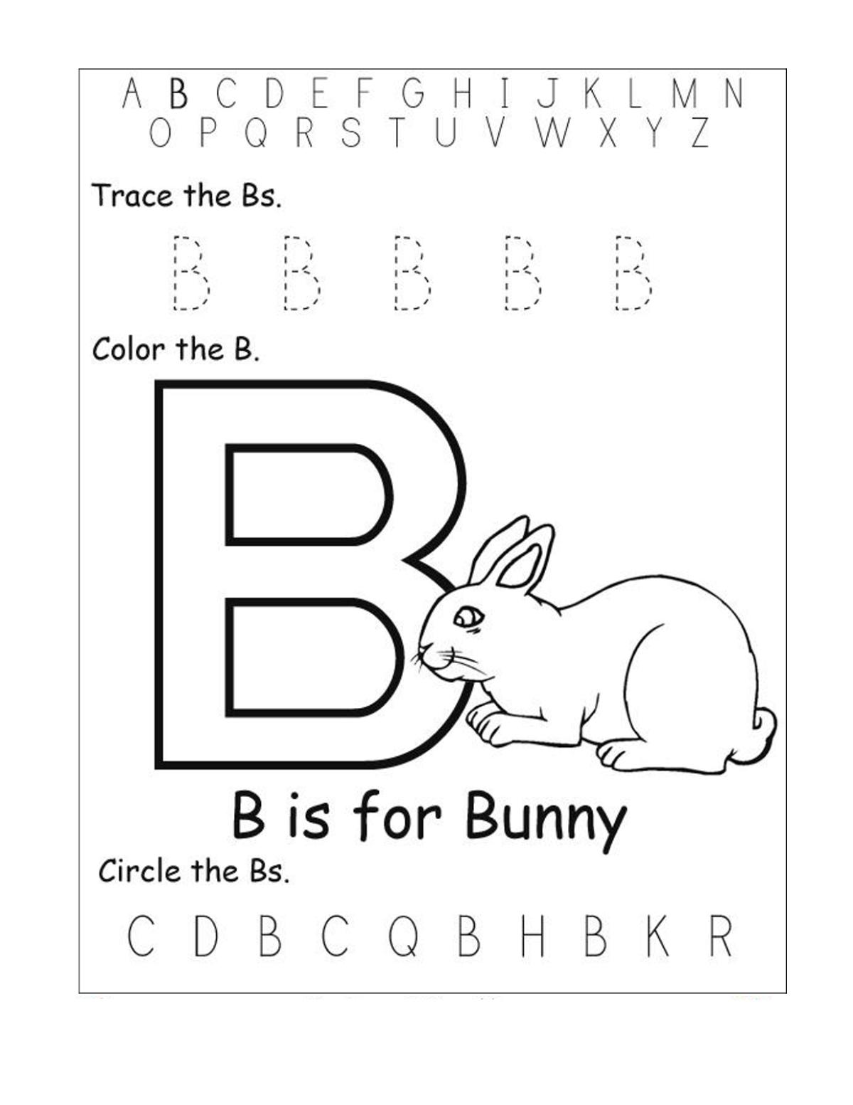 Trace Letter B For Preschool