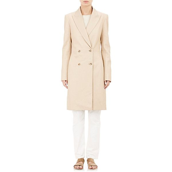 The Row Double-Breasted Gerrick Coat ($5,890) ❤ liked on Polyvore featuring outerwear, coats, nude, pink leather coat, double breasted coat, real leather coats, pink double breasted coat and leather coat