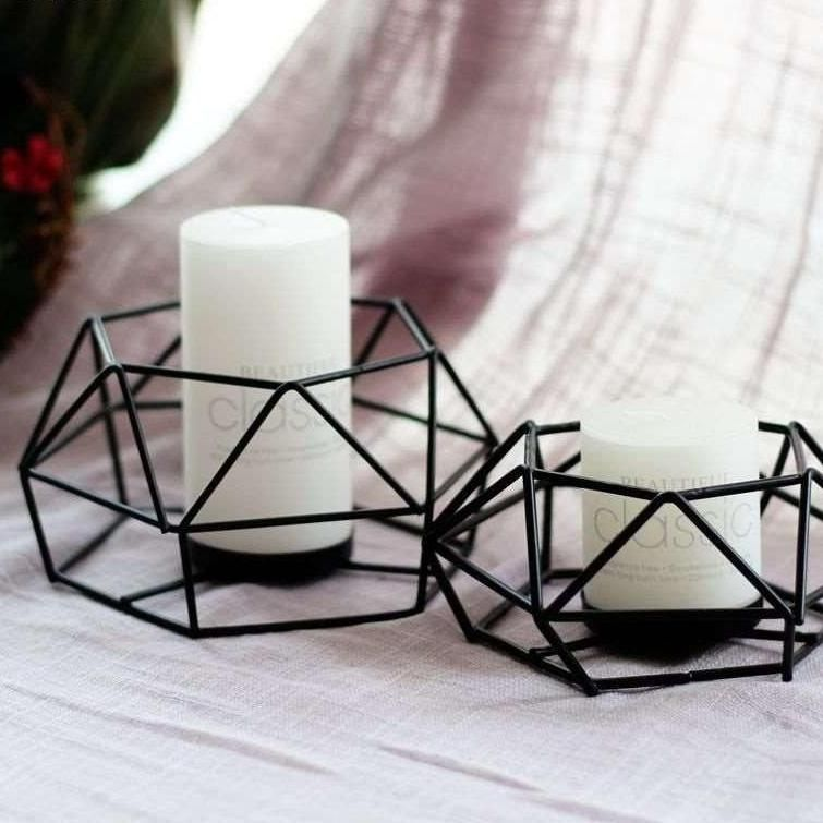 Low Profile Black Geometric Metal Wire Candle Holder Metal Wire