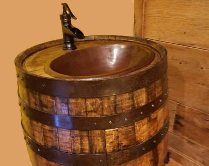 Wine Barrel Sink Base Vanity Black Bands 36 Tall Etsy