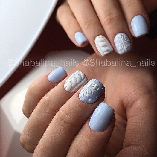 Winter Nail Designs 2017: Light Blue And White Matte Nail Art Christmas Winter