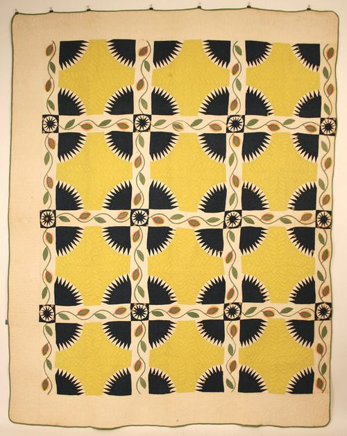 Beautiful & rare Watauga County, North Carolina quilt made by Nancy Lucinda Horton (b.1824). The Great Divide/Rocky Mountain pattern with appliqué & reverse appliqué. ty, chigonue. via Case Antiques